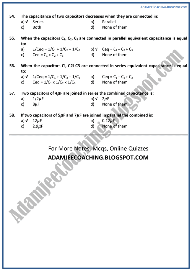 Physics Electrostatics Mcqs