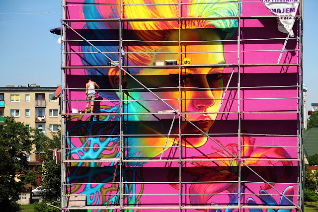 """SpellBound"" New Street Art Mural By Natalia Rak In Turek, Poland. - work in progress"
