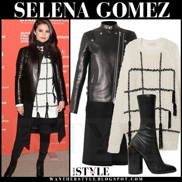 Selena Gomez in black leather and wool biker givenchy coat and ivory grid print tory burch sweater what she wore