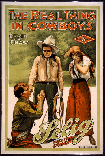 classic posters, free download, graphic design, movies, retro prints, theater, vintage, vintage posters, western, The Real Thing in Cowboys, Cupid in Chaps, Lelig Western Comedy - Vintage Theater Poster