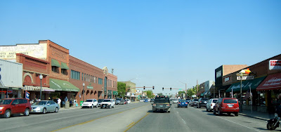 Driving through downtown Cody on highway 20 in Wyoming