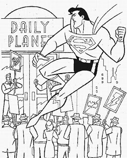 Superman fighting in the streets coloring page for children to apply colors pictures and kids cliparts