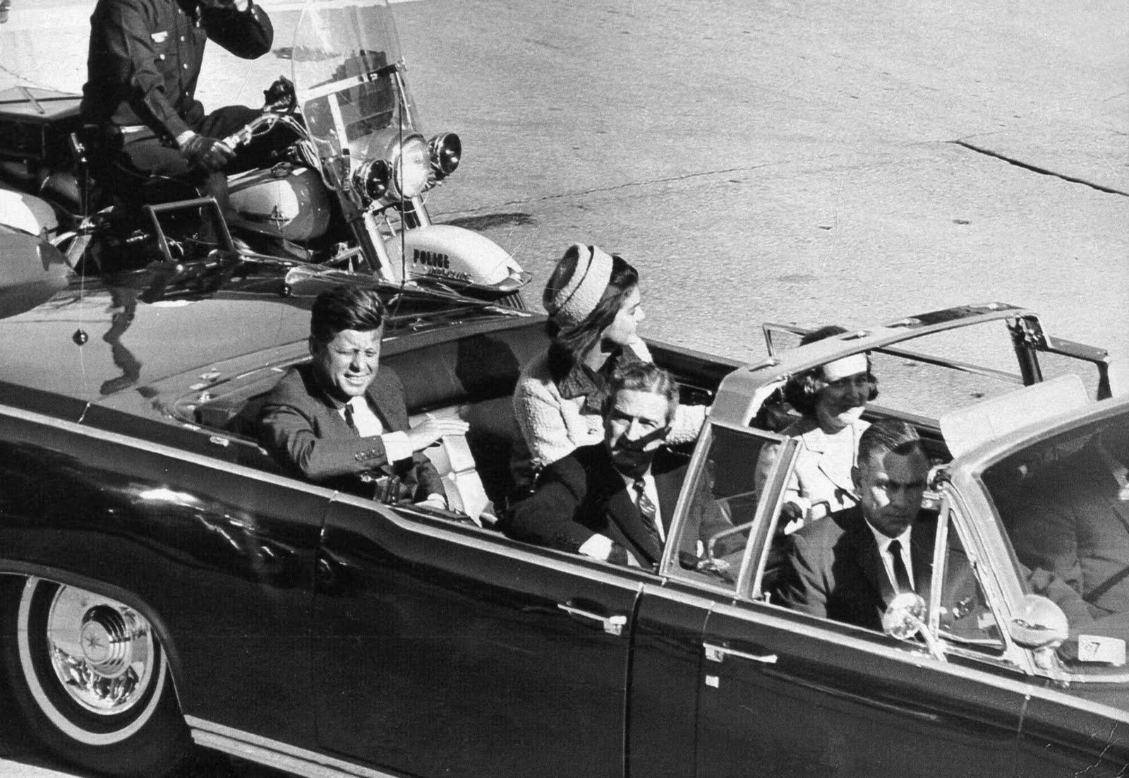 President John F. Kennedy in motorcade November 22 1963