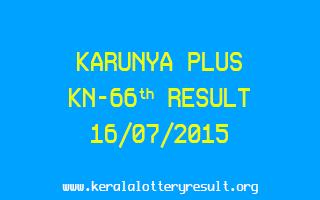 Karunya Plus KN 66 Lottery Result 16-7-2015