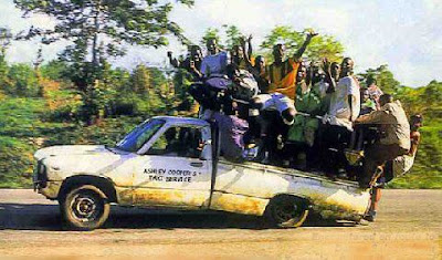 Funny picture: africans  with  car