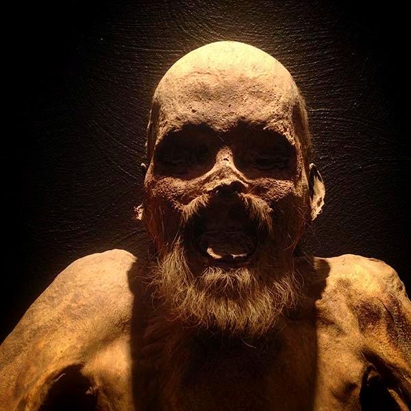 Momia de un hombre con barba en el Museo de las Momias de Guanajuato. Nuestro mundo está viviendo un momento de obsesión exagerada por el mundo material. Pero lo material, como el cuerpo que tengo frente a mí, tiende a la dureza y a la rigidez. ¿Será que nuestro materialismo está provocando que lo muerto se extienda por nuestro planeta?