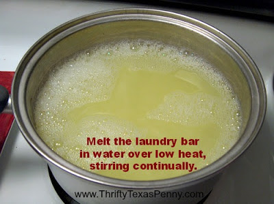 Melting the laundry bar to make your own Tide laundry detergent
