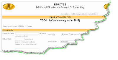 Indian Army TGC Recruitment 2012 Online Form