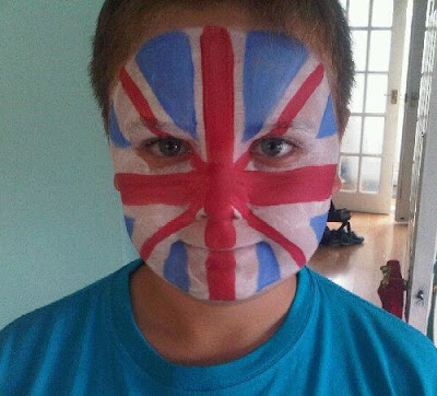 Face painted with union jack