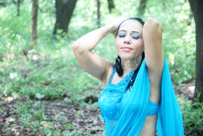 Rozlyn Khan's wet and hot photo shoot in saree