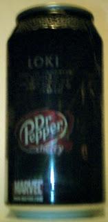Left side of Cherry Dr Pepper Loki can