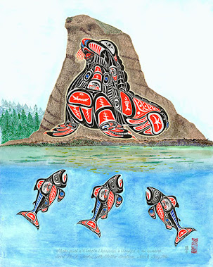 Seal Rock (Moku) with Stellar Sealion, Neah Bay WA. Sizes available: 8x10, $25; 16x20, $60