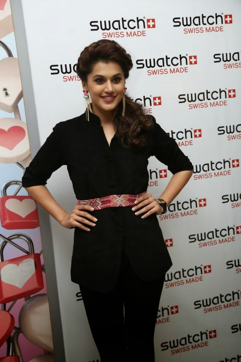 Actress Taapsee Pannu Latest Cute Hot Black Dress Spicy Photos Gallery At Swatch Launch