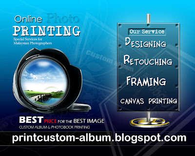 online custom album printing,online photobook printing,online canvas printing,online photo retouching,online photo framing,graphic design for brousher,perkhidmatan printing untuk photographer