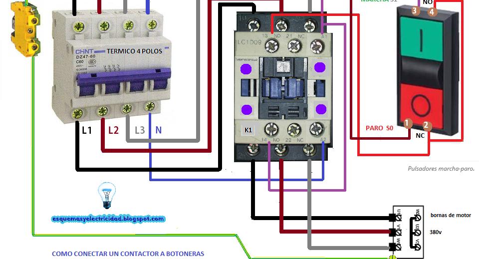 C mo conectar contactor a botoneras esquemas el ctricos for Como instalar un estor plegable