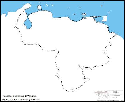 Mapa mudo de VENEZUELA, costas y limites