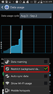 Android Restrict Background Data
