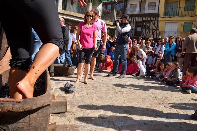 Pisado de las uvas en la plaza mayor de San MArtín del Castañar