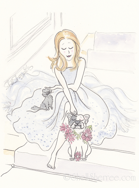 Fashion and fluffballs illustration : Fluffy Skirts and Frenchie Petal Pup © Shell-Sherree