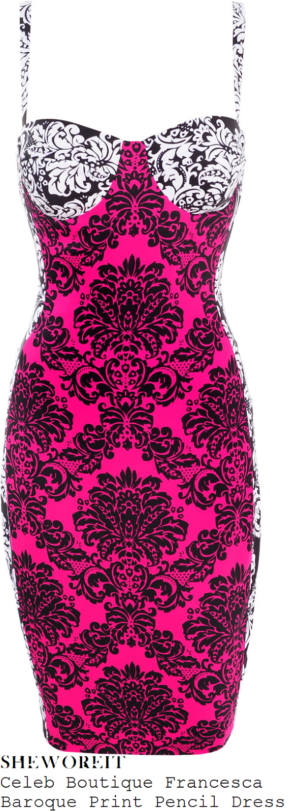 jessica-wright-hot-pink-white-black-baroque-print-pencil-dress-towie-vegas