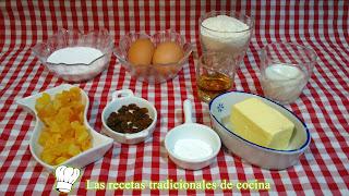 ingredientes bizcocho relleno de frutas y pasas