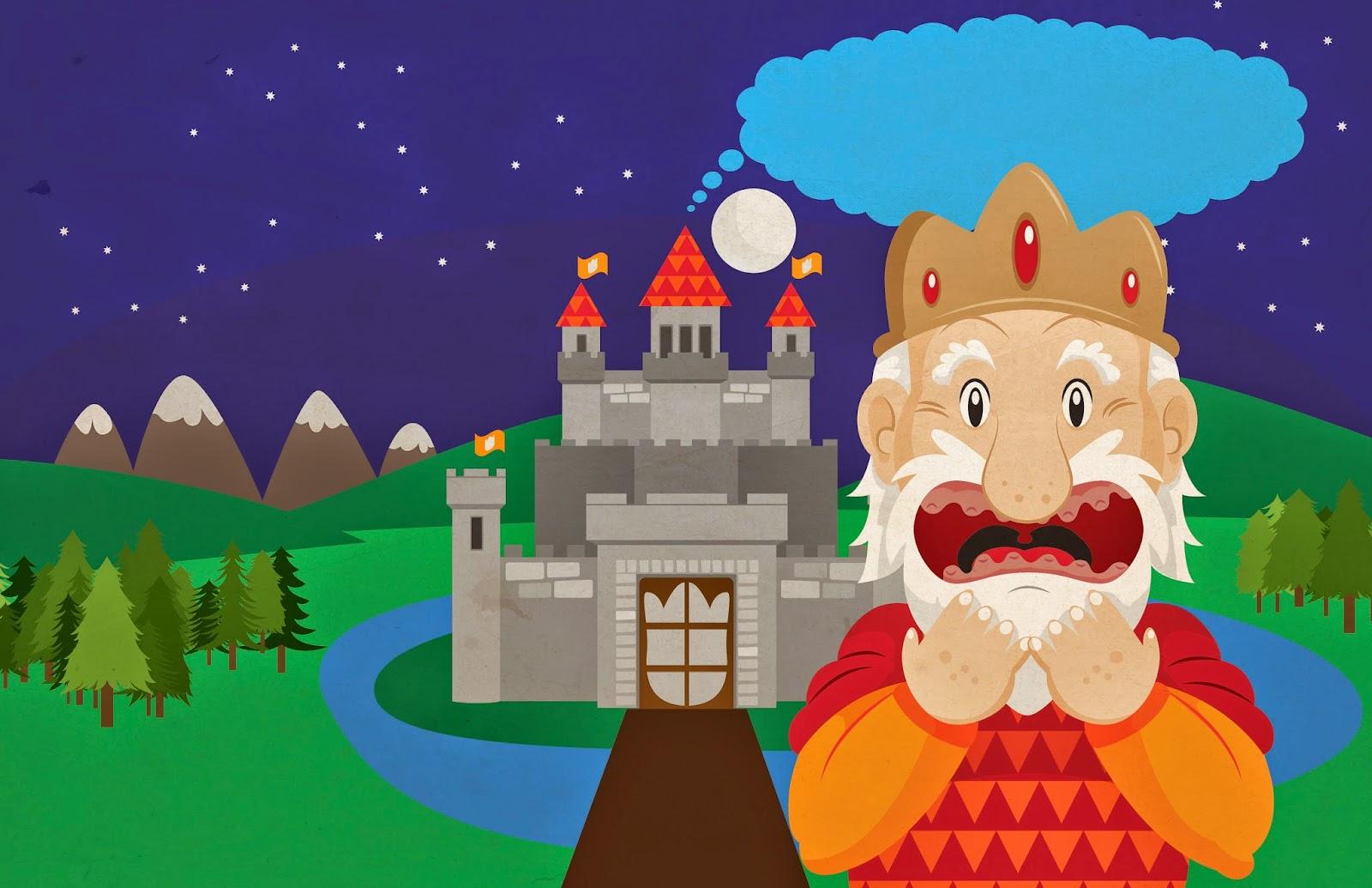 Ilustración infantil, cuento, Los dientes del rey, vector, castillo, king, castle, digital.