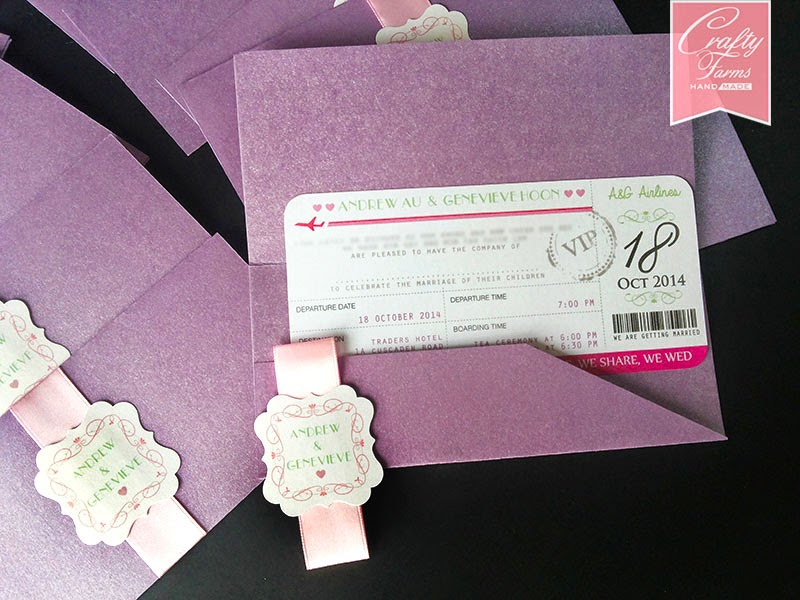 Green, Pink, Purple Airplane Boarding Pass Ticket Theme Wedding Card