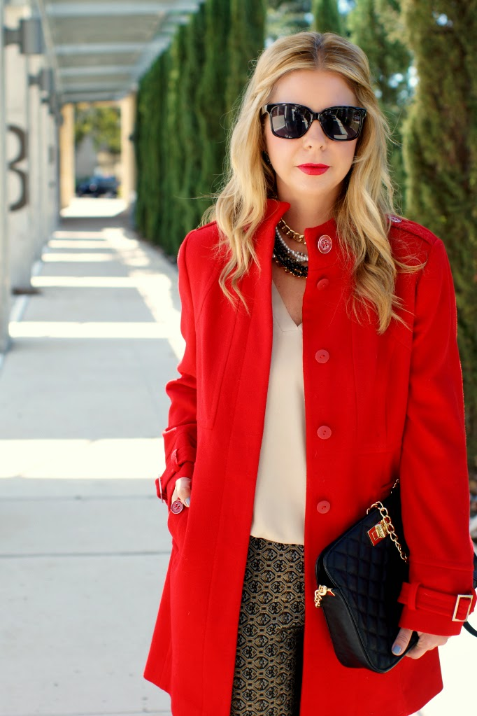 red wool trench coat for the holidays