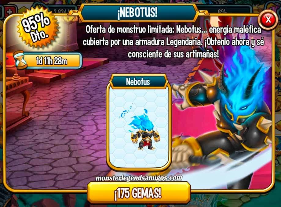 imagen de la oferta del monstyruo nebotus de monster legends