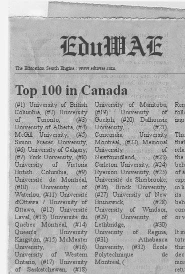Top 100 Universities in Canada