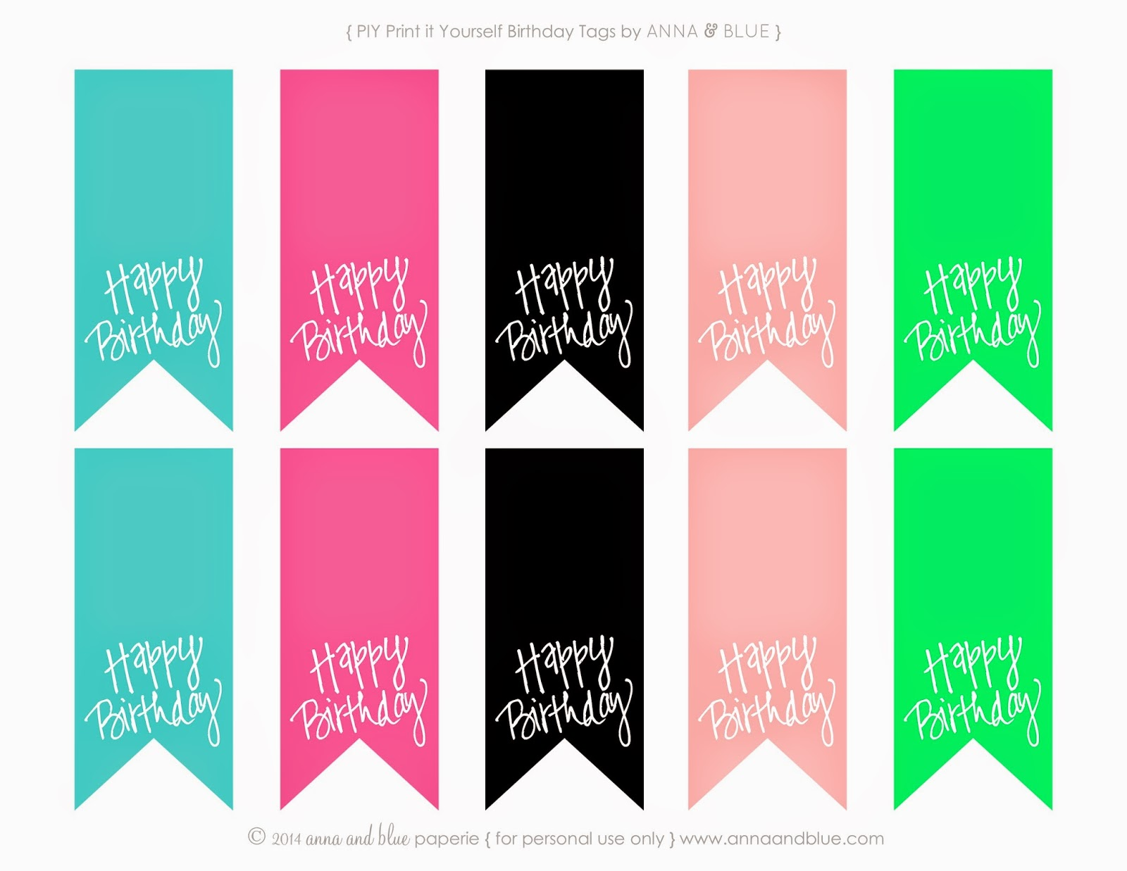 image relating to Birthday Tag Printable called anna and blue paperie: Free of charge Printable Delighted Birthday Reward