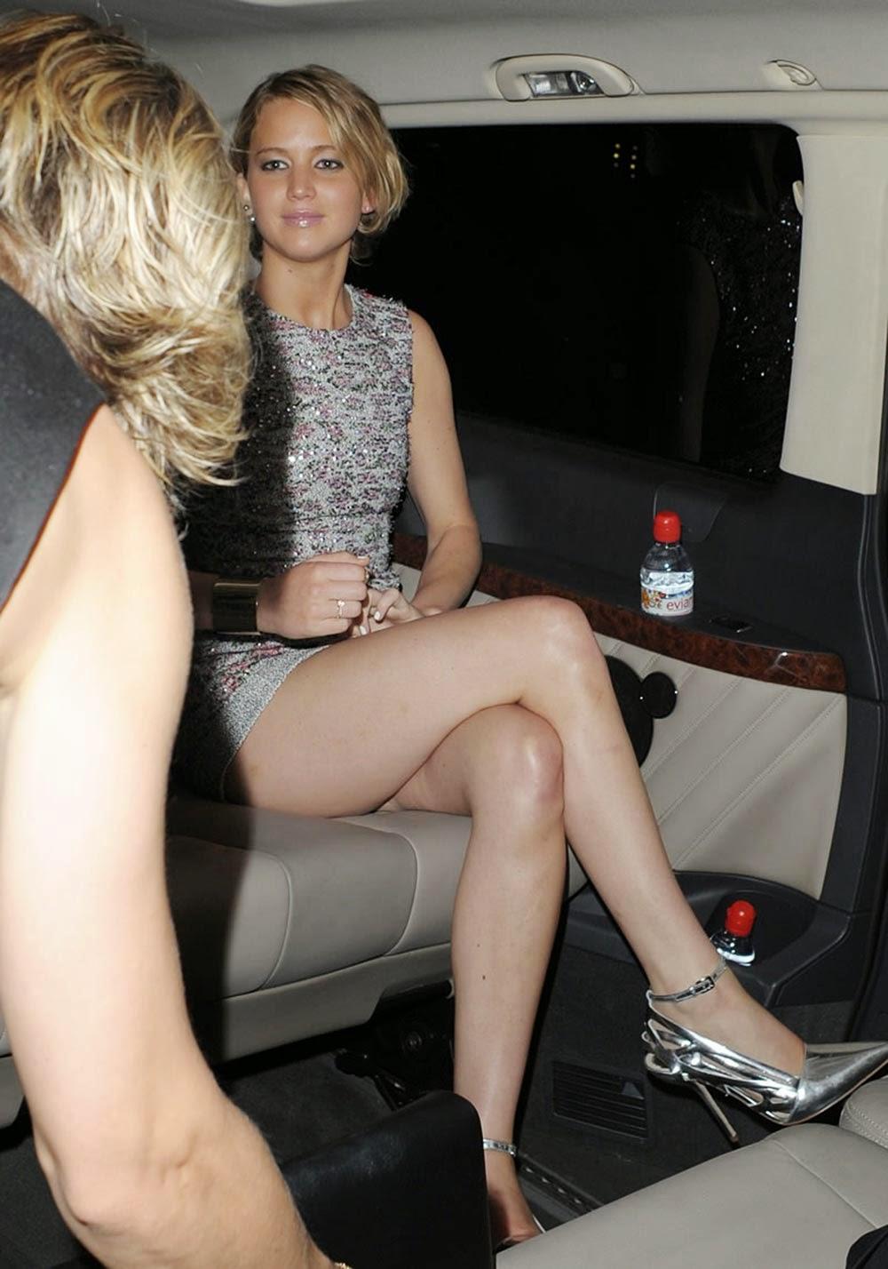 Jennifer Lawrence Crossed Legs Leaving Dior Party Paris
