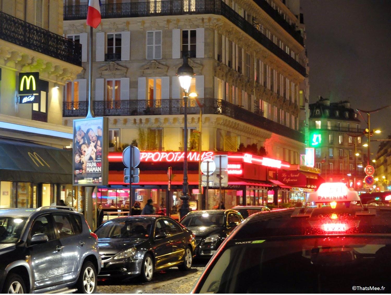 Néons gare du Nord enseignes lumineuses rue Dunkerque resto Paris MacDo Hippopotamus