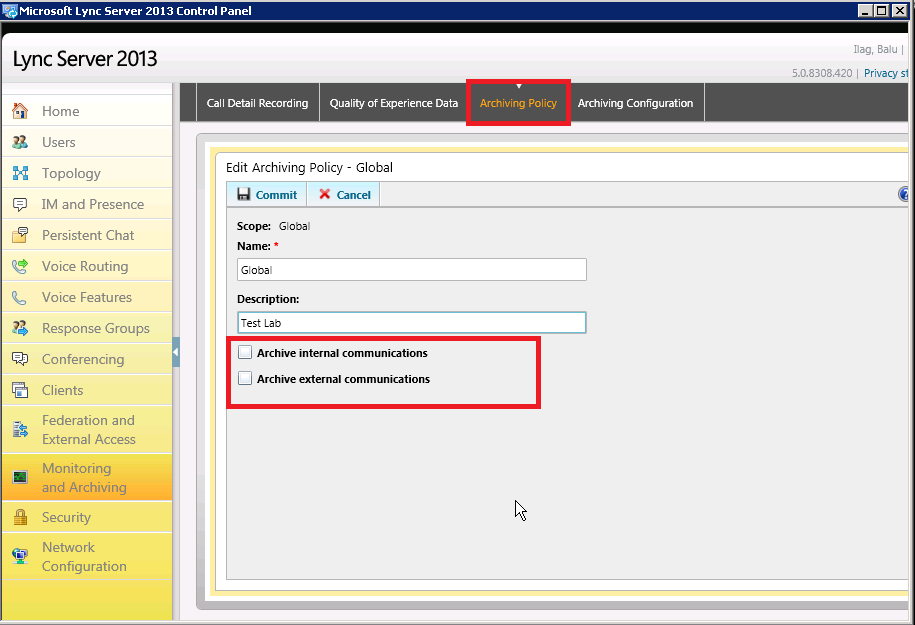 Disable IM Archiving and Conversation history in Lync Server 2013