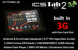 "The Latest 9.7"" ICS 3G Slim Tablet PC"