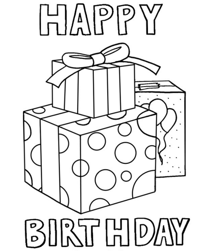 Happy Birthday 4 Coloring Pages Happy Birthday Coloring Page