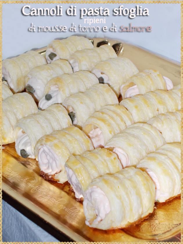 Cannoli di pasta sfoglia ripieni di mousse di tonno e di salmone