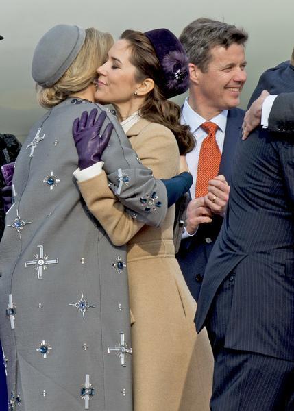 Danish Crown Prince Frederik, Danish Crown Princess Mary, Danish and Prince Consort Henrik, Danish Princess Benedikte, Danish Prince Joachim, Danish Princess Marie and Danish Queen Margrethe welcome Dutch King Willem-Alexander and Dutch Queen Maxima