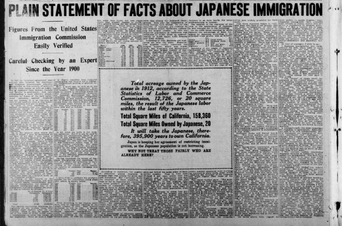 koreans discriminated by the alien land act of 1913 , page 1 the new york times archives sacramento, may 14 -- expressing his determination to sign the alien land bill recently passed by the legislature, gov hiram w johnson of california to-day telegraphed to william j bryan, secretary of state, a long explanation of the action taken by the legislature.