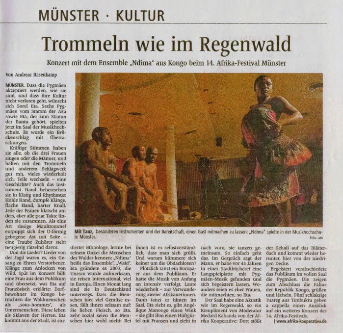 Konzert mit dem Ensemble Ndima aus Kongo beim 14. Afrika-Festival Münster