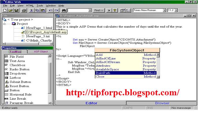 Source code vb6 phần mềm soạn thảo web hỗ trợ lập trình ASP + báo cáo 1