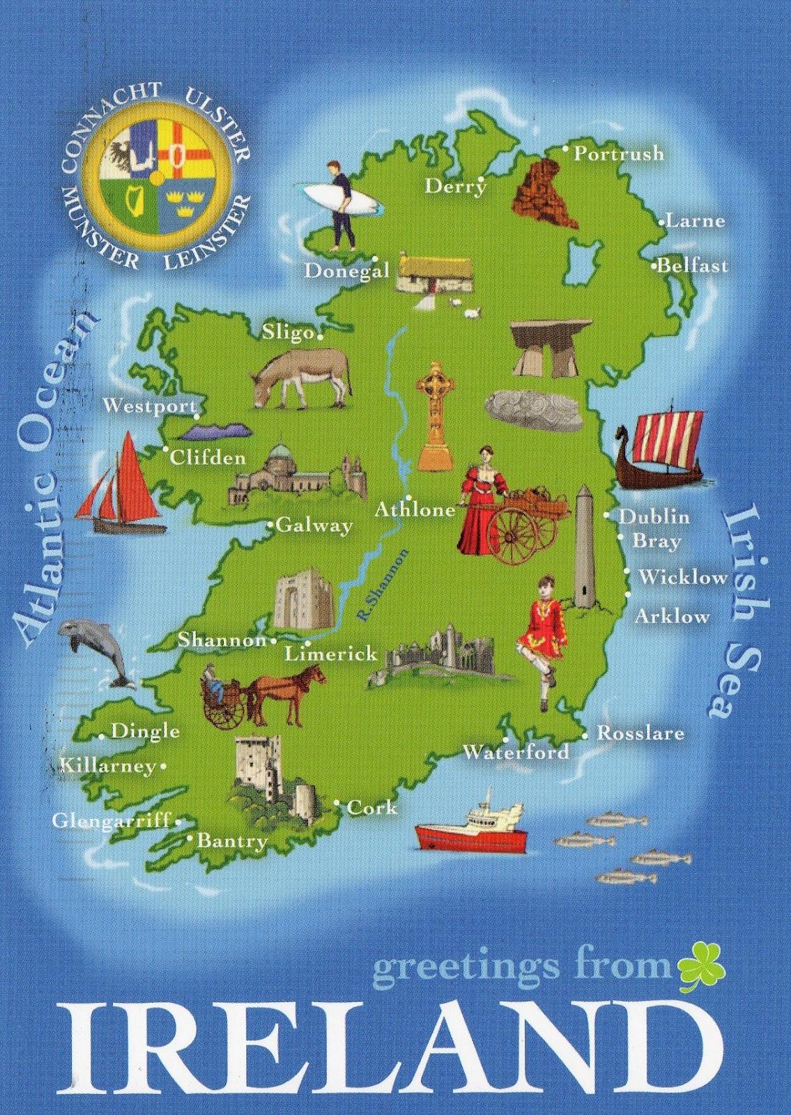 Punchy image inside printable maps of ireland