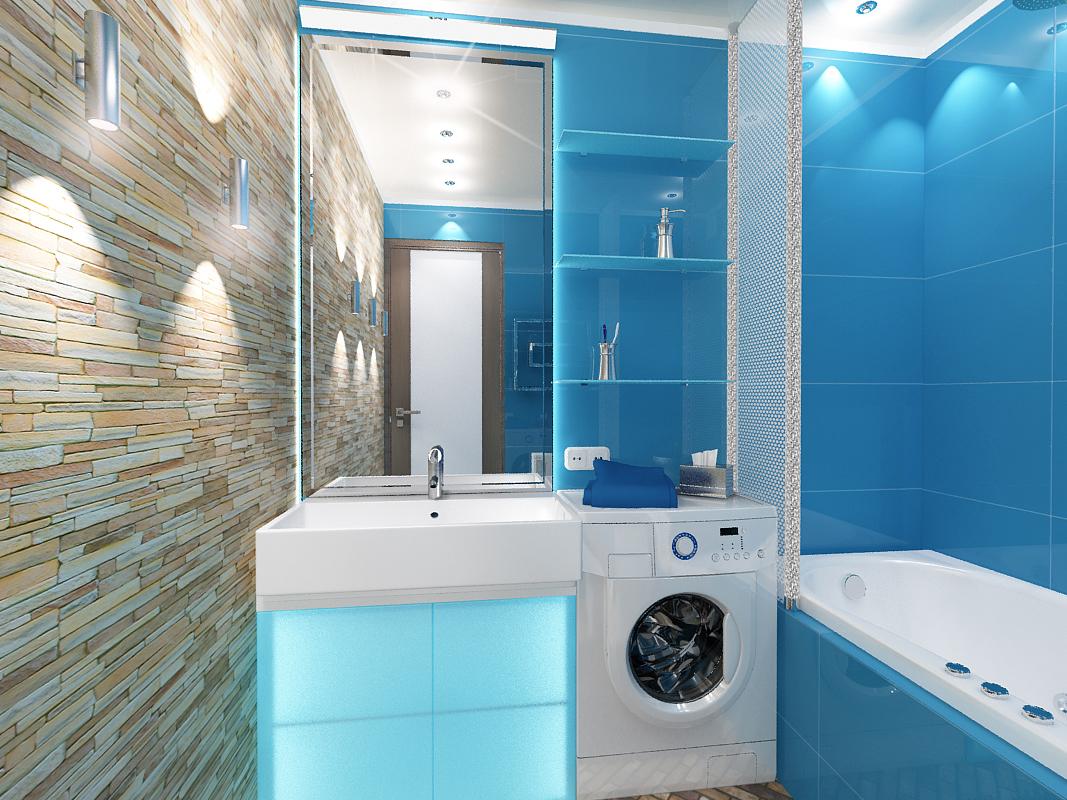 Голубая ванная комната фото