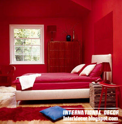 red interior bedroom design, red bedroom decorations