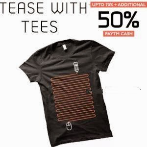 Buy T-shirts upto 76% off and 50% Cashback from Rs.119 at Paytm: Buytoearn