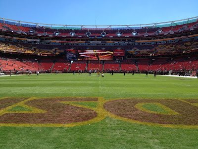 On the field before a Washington Redskins game