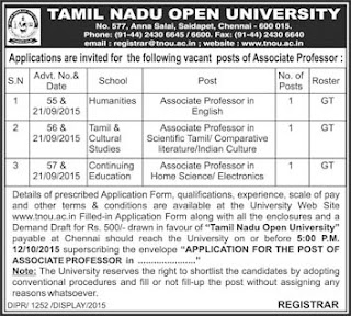 Applications are invited for Direct Recruitment of Associate Professors for Tamil, English and Home Science subjects in Tamil Nadu Open University (TNOU) Chennai