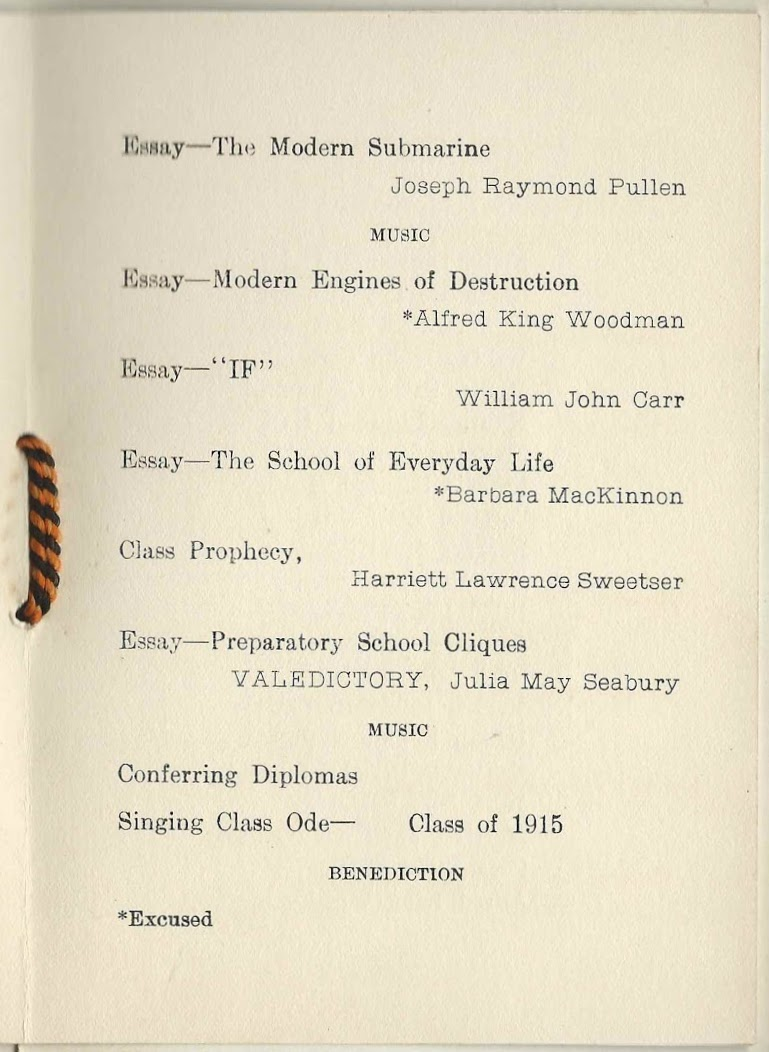 1915 graduation program of yarmouth high school at yarmouth maine essay the modern submarine joseph raymond pullen music essay modern engines of destruction alfred king woodman essay if william john carr