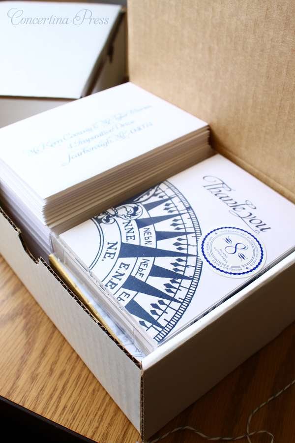Navy andwhite nautical compass thank you cards from Concertina Press