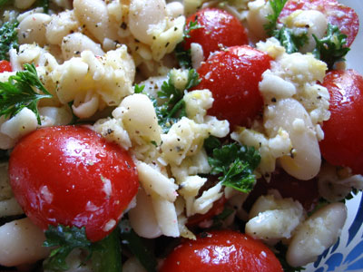 Cannellini and Grape Tomato Salad with Lemon Dressing and Rosemary-Garlic Infused Olive Oil